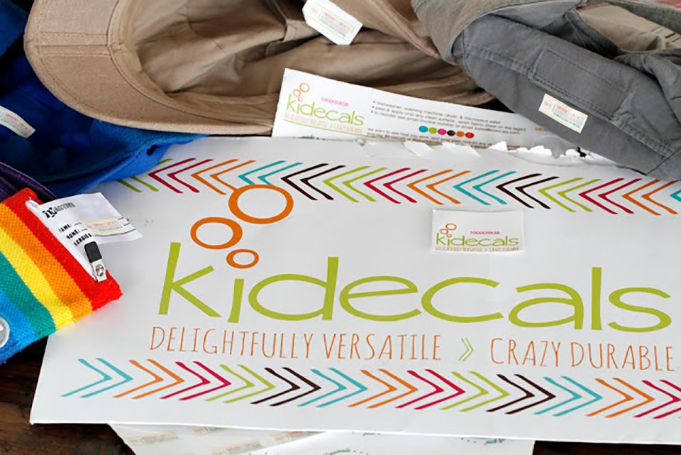 Kidecals personalised washable labels used for emergency contacts