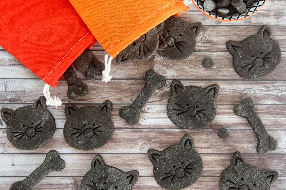 Homemade Halloween black cat cookie dog treats