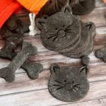 Homemade Halloween dog treat black cat cookies