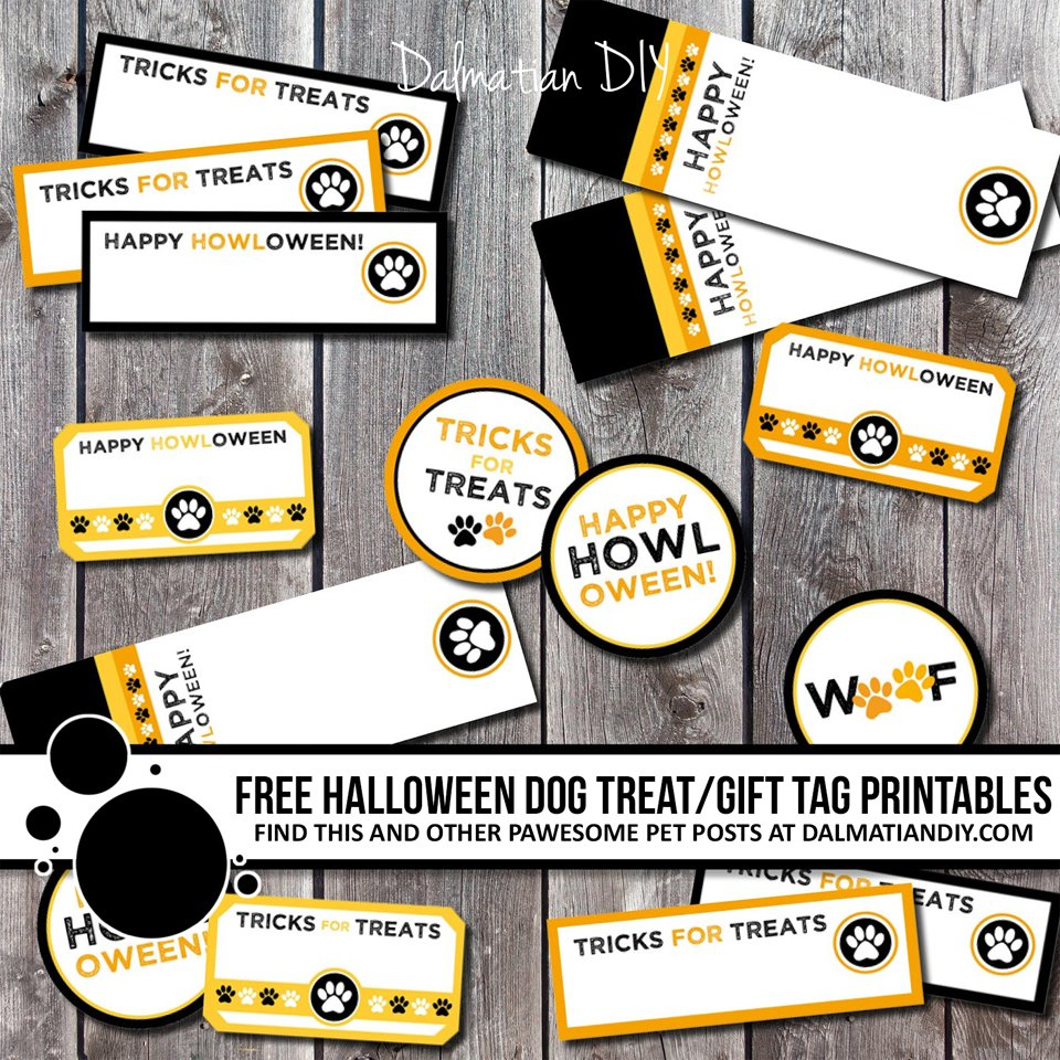 Free printable Halloween dog treat tabs and labels