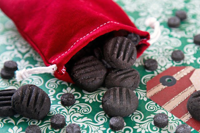Homemade lumps of coal dog treats for the naughty list