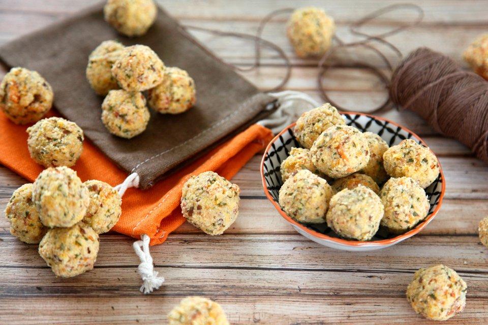 Homemade pumpkin and herb truffle dog treats