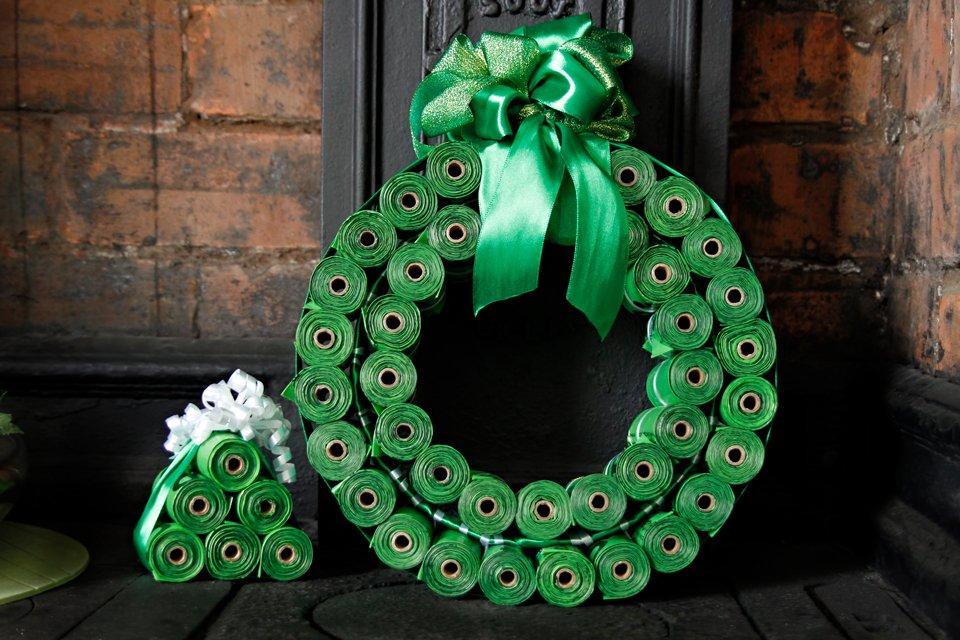 DIY dog poop bag Christmas wreath and miniature trees