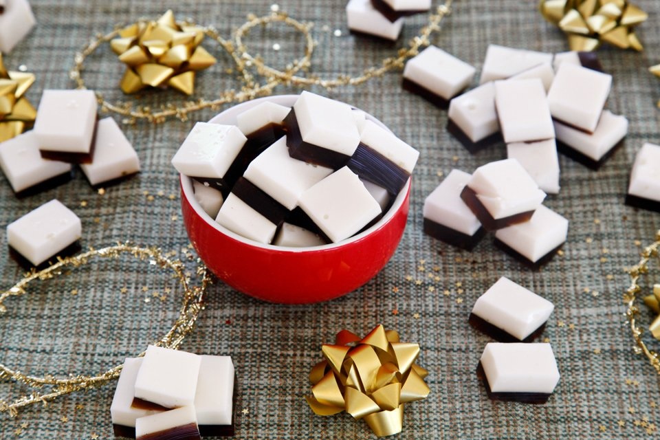 Layered gingerbread and yogurt gelatin gummy dog treats