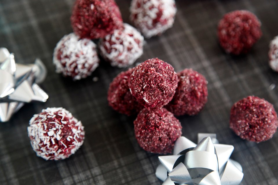 Homemade red velvet beetroot truffle dog treats