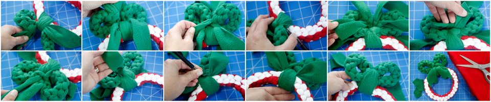Weaving a bow on a DIY wreath dog tug toy