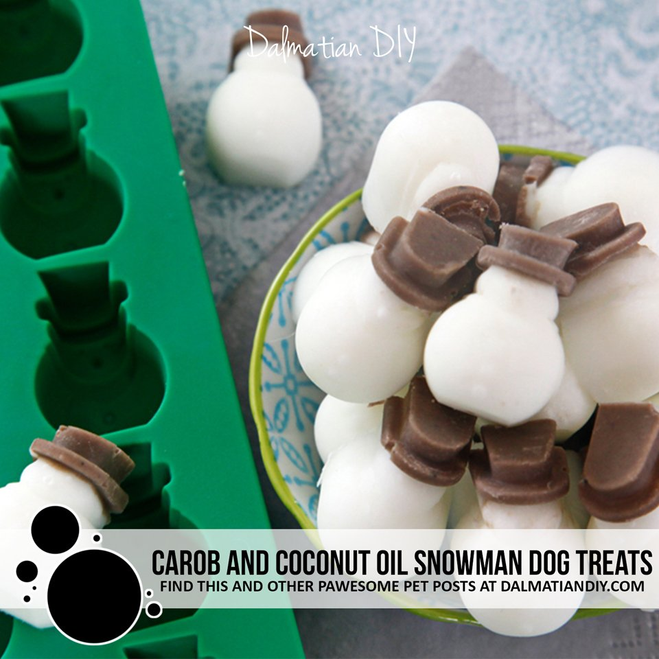 DIY carob and coconut oil snowman dog treats