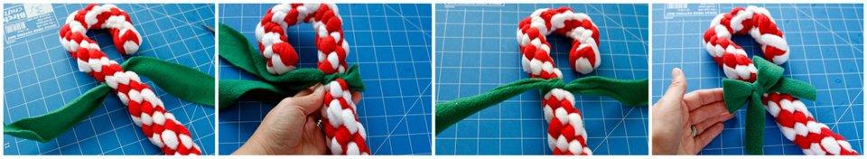 Adding a bow to a DIY candy cane dog tug toy