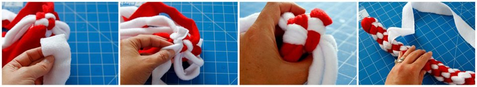 Adding an extra strip to the body of a DIY dog tug toy for cinching a candy cane curve