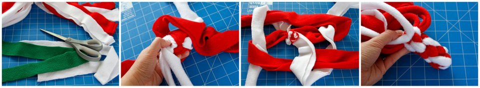 Concealing a starting knot inside a DIY dog tug toy for a plain stick end