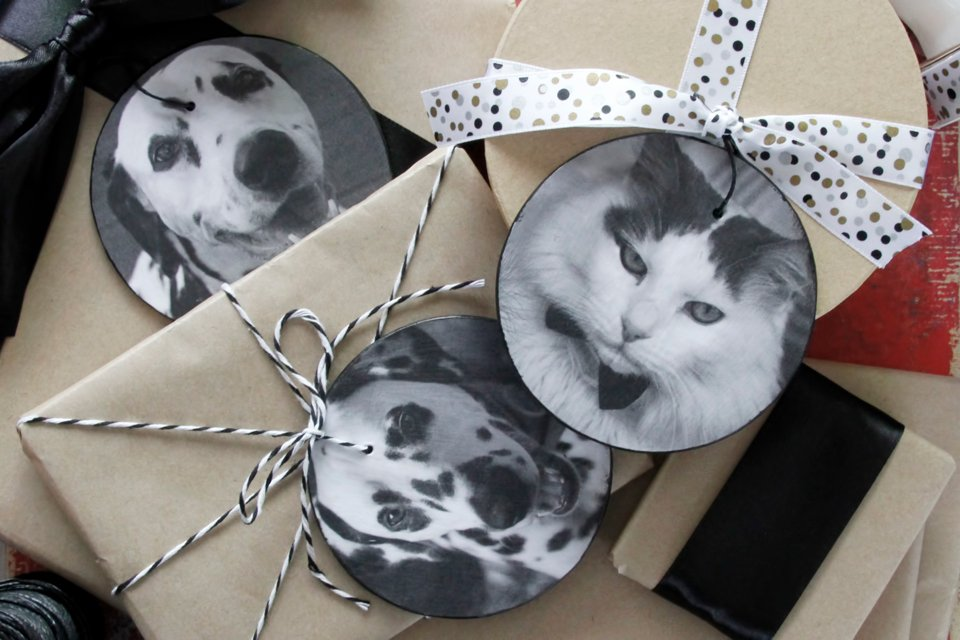 DIY decoupage pet photo ornaments and gift tags