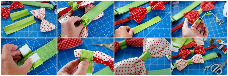 Making a Velcro collar attachment for a dog bow tie