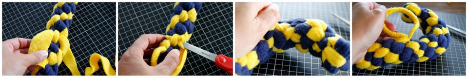 Cinching a DIY dog tug toy to create a curved shape