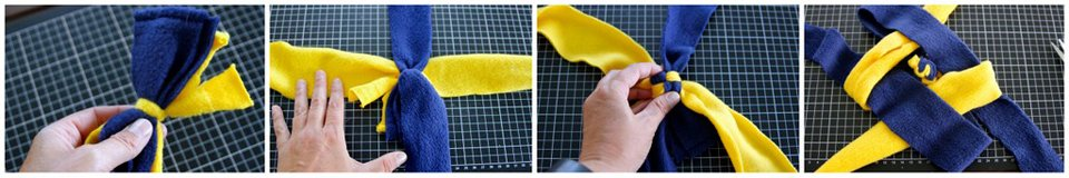Weaving a stick end dog tug toy (no tassels) using a concealed end knot
