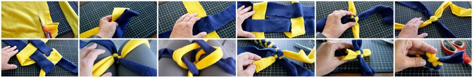 Weaving a stick end dog tug toy (no tassels) using two strips of fleece