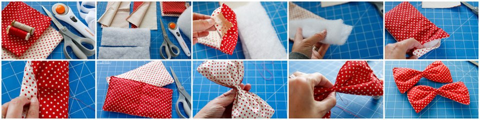 Making a padded oversized DIY reversible dog collar bow tie