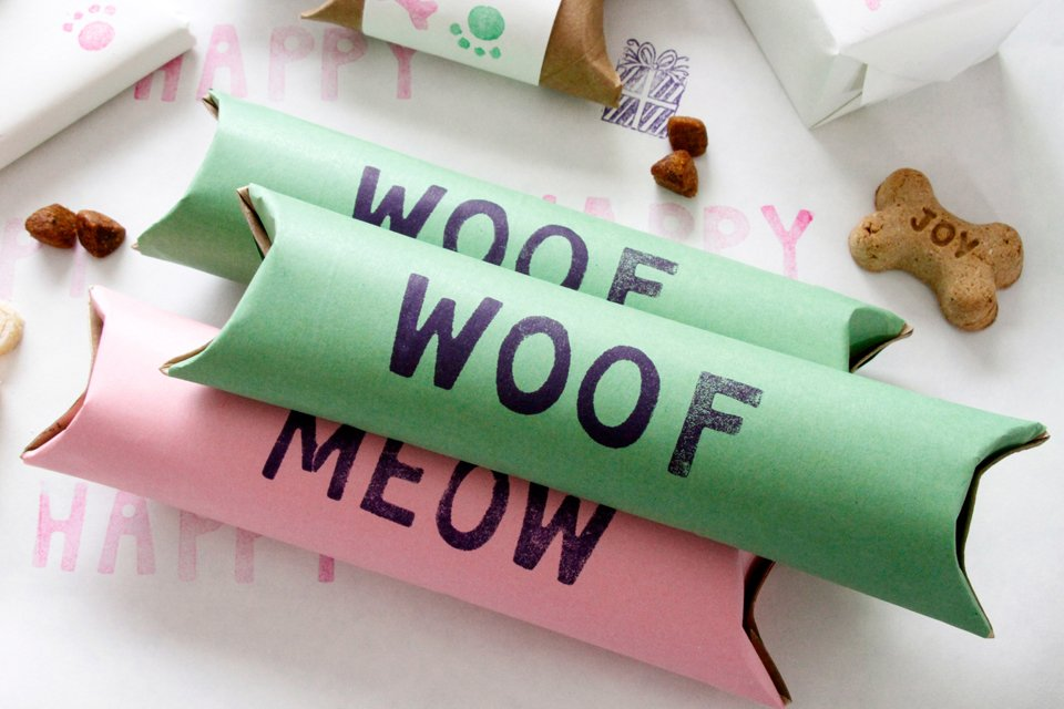 DIY cardboard tube gift boxes for dogs and cats