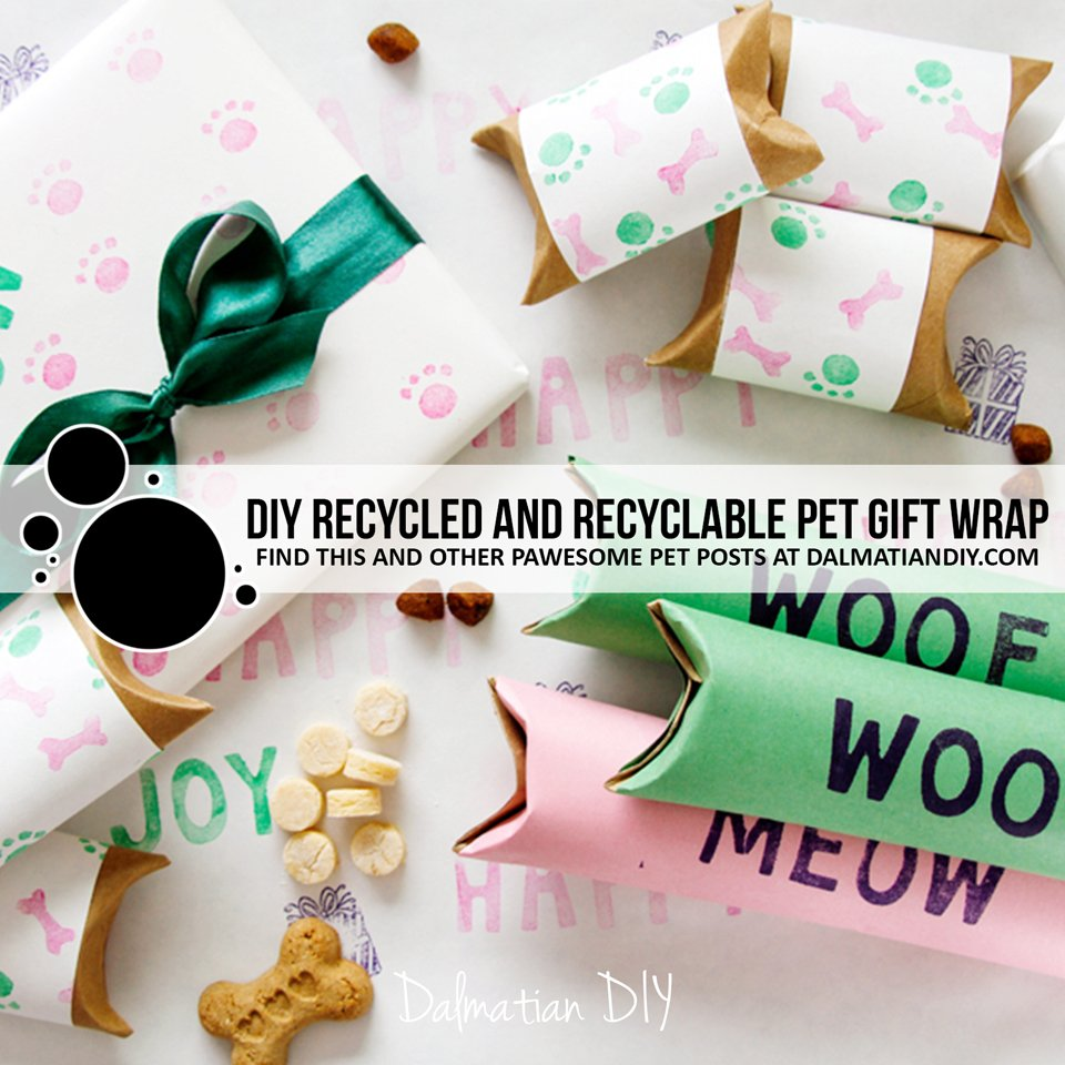 DIY recycled and recyclable wrapping paper for pet presents