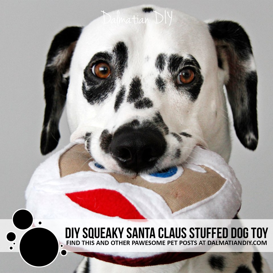 DIY round squeaky stuffed Santa dog toy