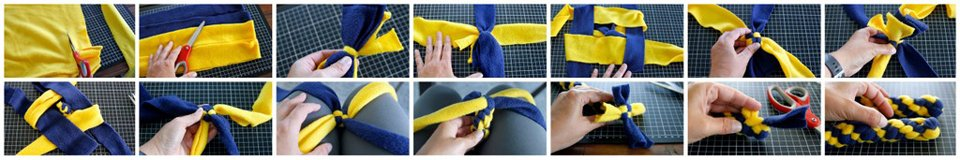 Weaving a dog tug toy using four strips of fleece