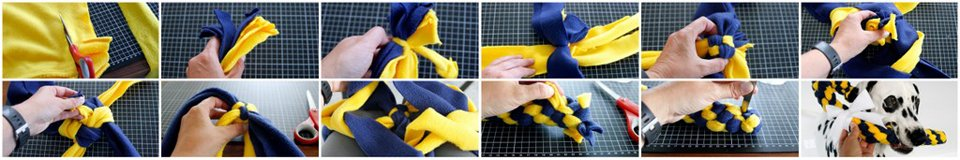 Weaving a thick dog tug toy using eight strips of fleece in four pairs