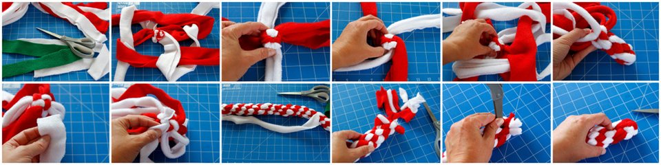 How to weave a spiral dog tug to with stick ends (no tassels)