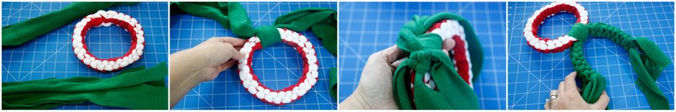 Making a Christmas wreath shaped dog tug toy