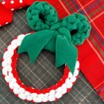 DIY woven fleece Christmas wreath dog tug toy