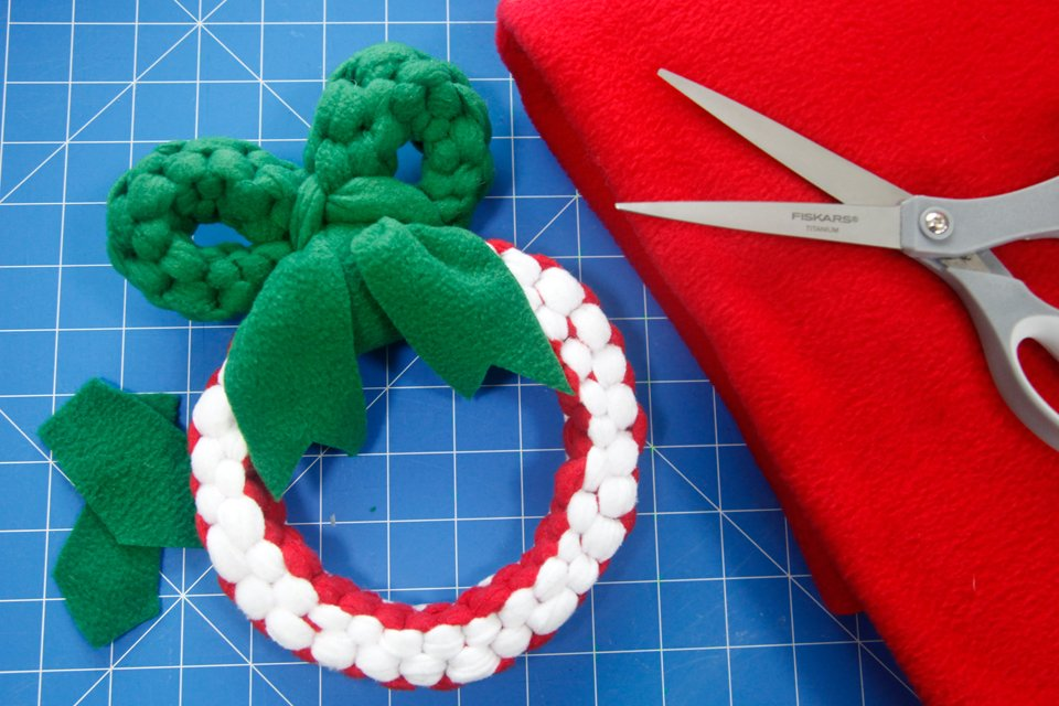 Homemade holiday wreath dog tug toy