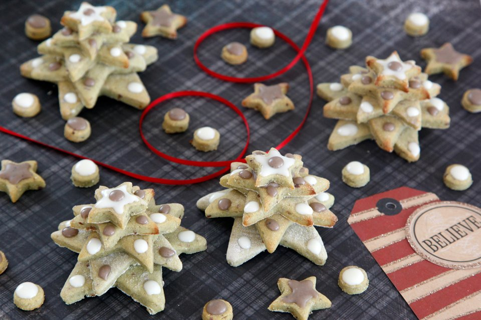 Homemade stacked star Christmas tree dog treats with yogurt and carob