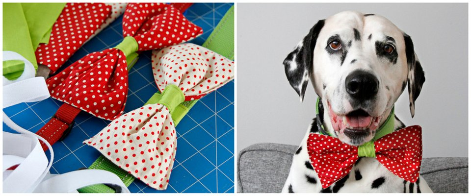 DIY reversible dog collar bow ties