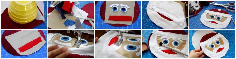 Making a round Santa Clause face for a stuffed toy