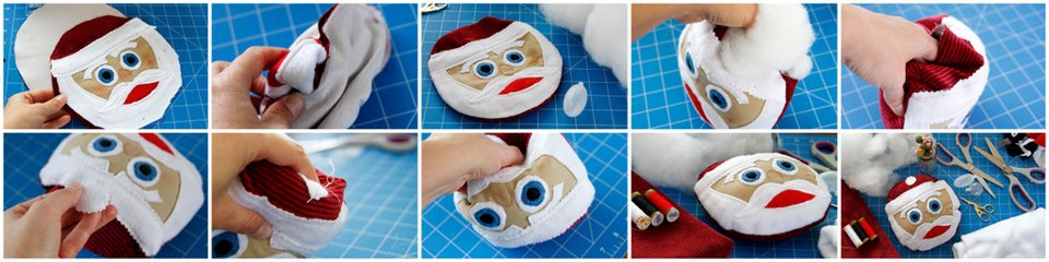 Sewing a round Santa face dog toy with stuffing and squeakers