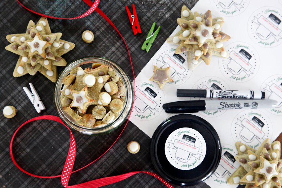 Homemade star and Christmas tree dog treats with yogurt and carob