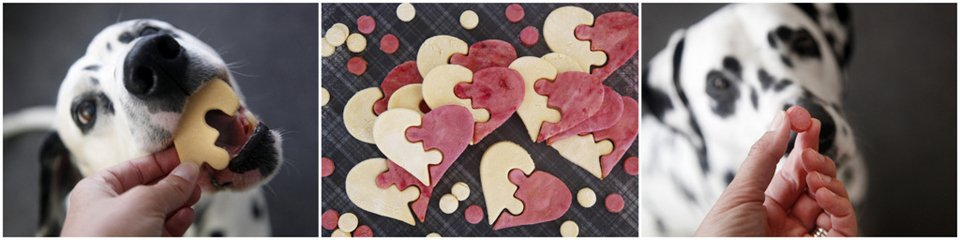 Dalmatian dogs with Valentine puzzle heart dog treats