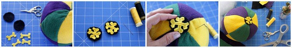 Adding embellishments to a DIY Mardi Gras dog ball toy