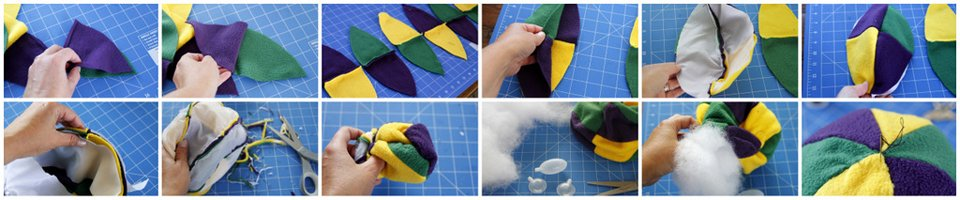 Sewing a DIY multi-coloured stuffed ball dog toy with squeakers