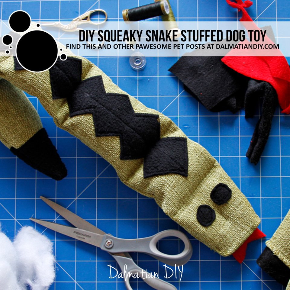 DIY snake dog toy with squeakers