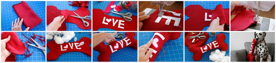 Making a DIY LOVE bone Valentine's Day stuffed dog toy with squeakers
