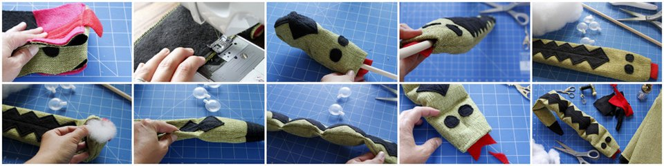 Sewing and stuffing a homemade snake dog toy with squeakers