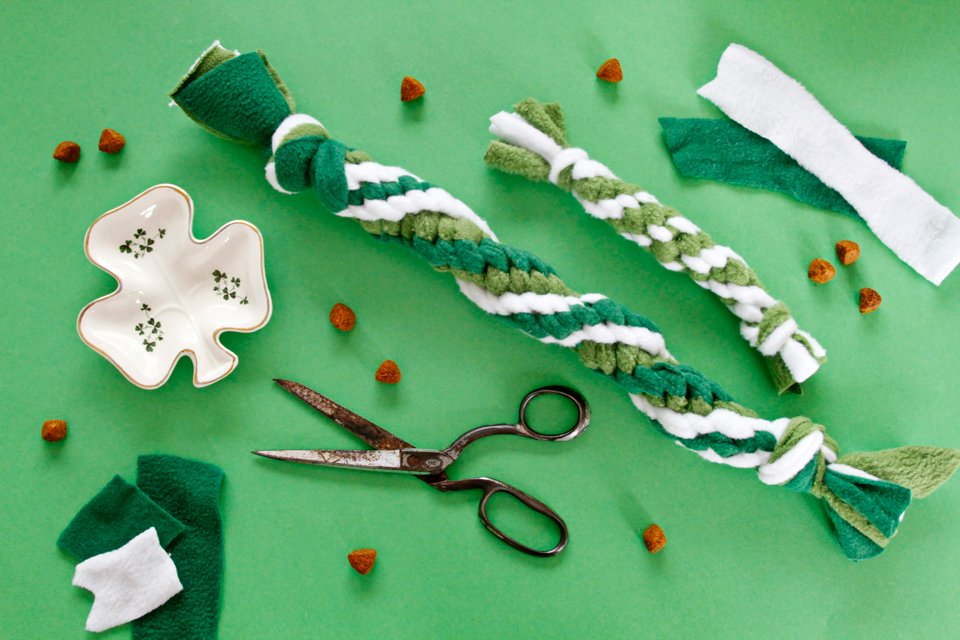 DIY green and white St. Patrick's Day dog tug toys