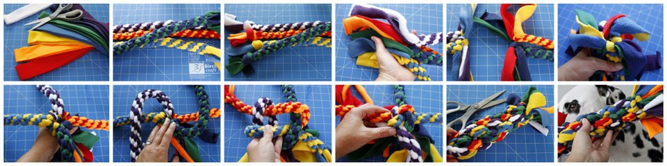 Making a giant fleece dog tug toy made out of smaller tug toys