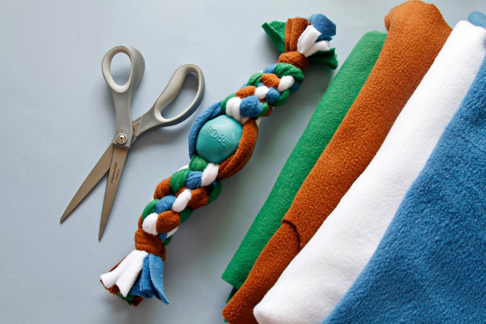 DIY fleece tug toy with durable salvaged ball