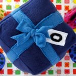DIY wrapped birthday present stuffed dog toy