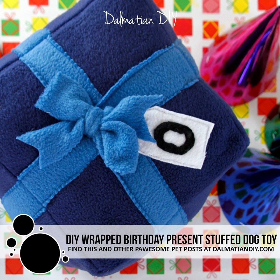 DIY Wrapped Birthday Present Stuffed Dog Toy