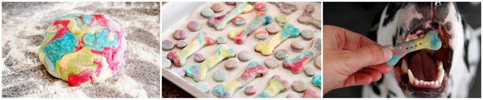 Marking marbled rainbow dog treats