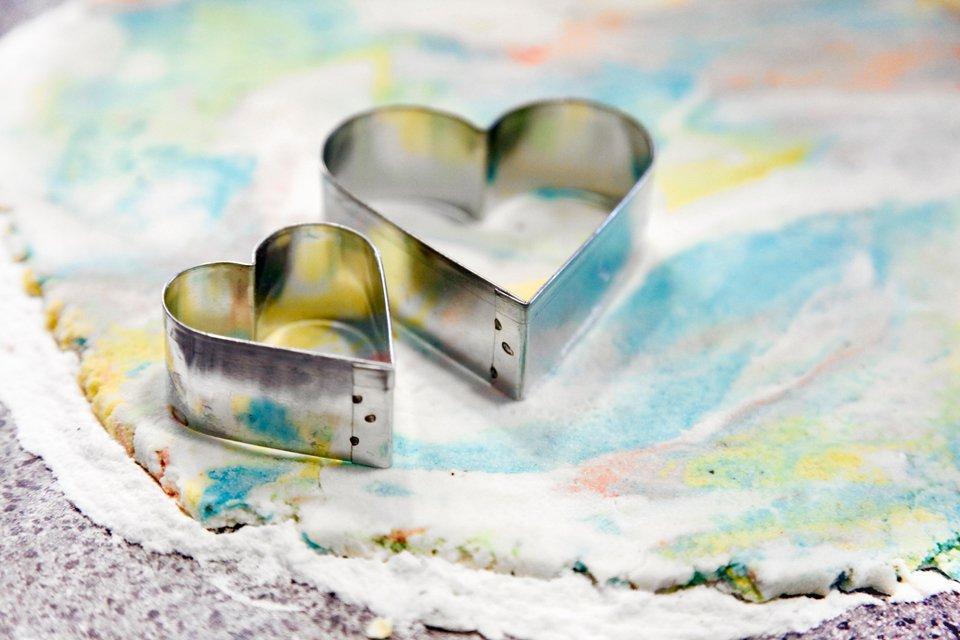Making marbled rainbow heart dog treats