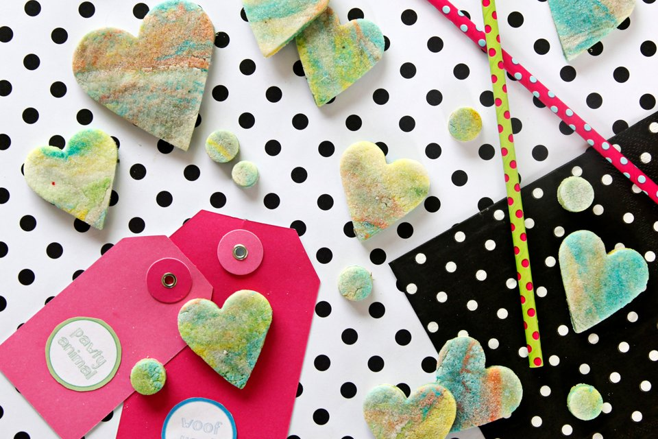 Marbled rainbow heart and confetti bite dog treats