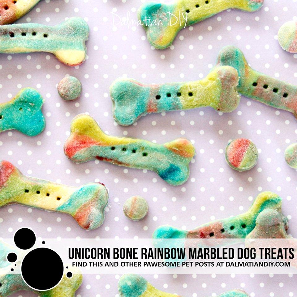 DIY unicorn bone homemade rainbow marbled dog treats