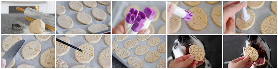 Decorating homemade Easter egg dog treats with stamps